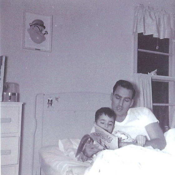 Dad reading to me