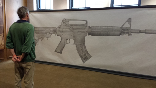 Greg Bokor's gun mural at Fountain Street Church, before erasure