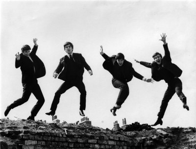 One of my favorite Beatles pictures: jumping jubilantly above the chimney pots and hard scrabble of their early lives